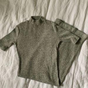 F21 bodycon gray knit midi dress